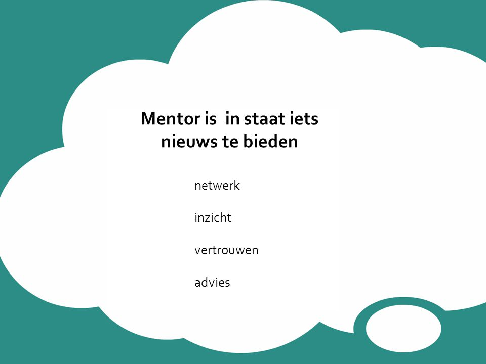 Mentor is in staat iets nieuws te bieden netwerk inzicht vertrouwen advies