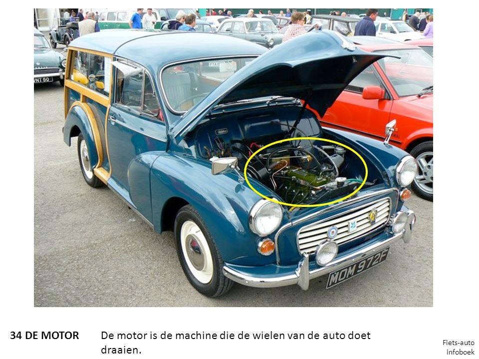 34 DE MOTORDe motor is de machine die de wielen van de auto doet draaien. Fiets-auto infoboek