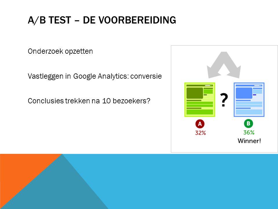 A/B TEST – MOGELIJKE FOUTEN Voor té kleine bedrijven niet handig Teveel verschillende factoren pagina A en B Interessant onderwerp en wil je meer weten.