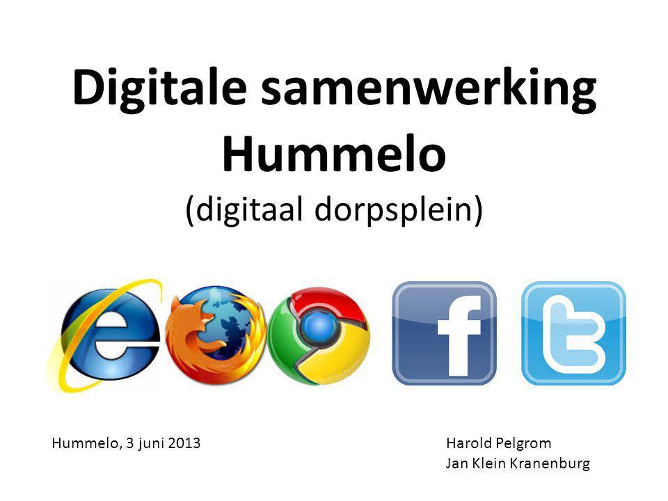 Digitale samenwerking Hummelo (digitaal dorpsplein) Harold Pelgrom Jan Klein Kranenburg Hummelo, 3 juni 2013