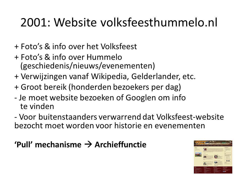 Mei 2013: Samenwerking diverse media Combinatie 'Push & pull'  Archief, laatste nieuws & toekomst Hummelo-deel Kermiswebsite beschikbaar als Hummelo.nl + Oude info/foto's eenvoudig op te zoeken + Tweets & Feeds (één pagina met 'nieuws') + Agenda vanuit Achterhoek Agenda: synchroon met (gedrukte) media + Betere bediening tijdelijke bezoekers/toeristen: geen versnipperde info + Biedt verenigingen/evenementen ruimte voor promotie Facebook 'pusht' nieuwe info en/of organiseert evenementen.