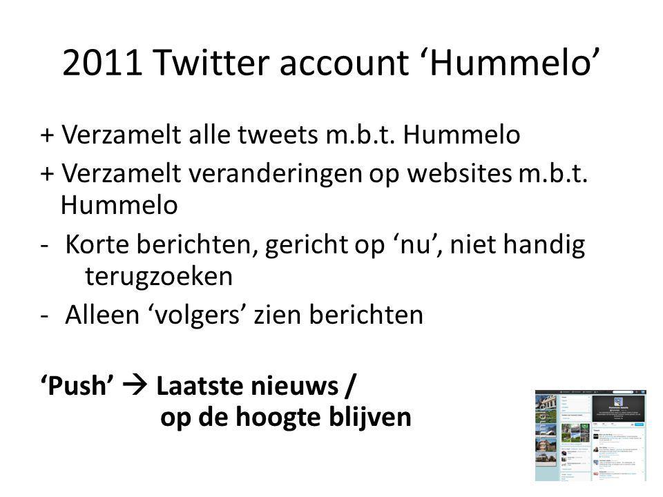 2011 Twitter account 'Hummelo' + Verzamelt alle tweets m.b.t.