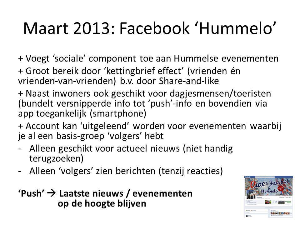 Maart 2013: Facebook 'Hummelo' + Voegt 'sociale' component toe aan Hummelse evenementen + Groot bereik door 'kettingbrief effect' (vrienden én vrienden-van-vrienden) b.v.