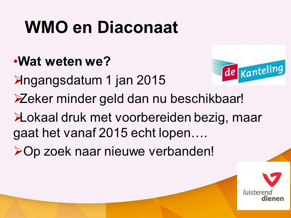 WMO en Diaconaat Wat weten we. Ingangsdatum 1 jan 2015  Zeker minder geld dan nu beschikbaar.