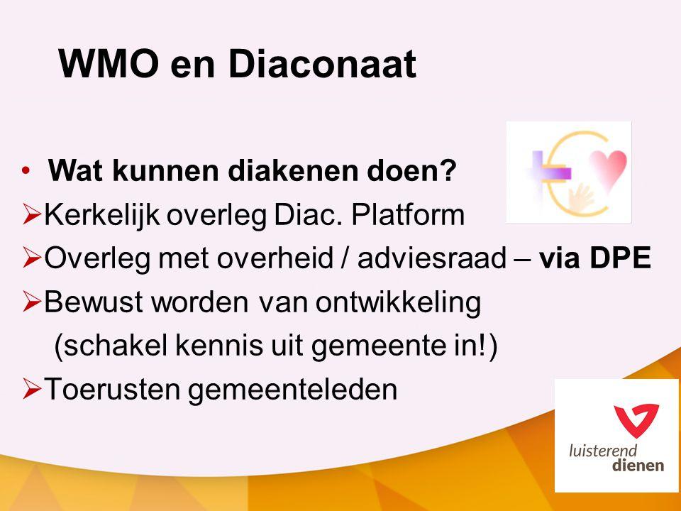 WMO en Diaconaat Wat kunnen diakenen doen. Kerkelijk overleg Diac.