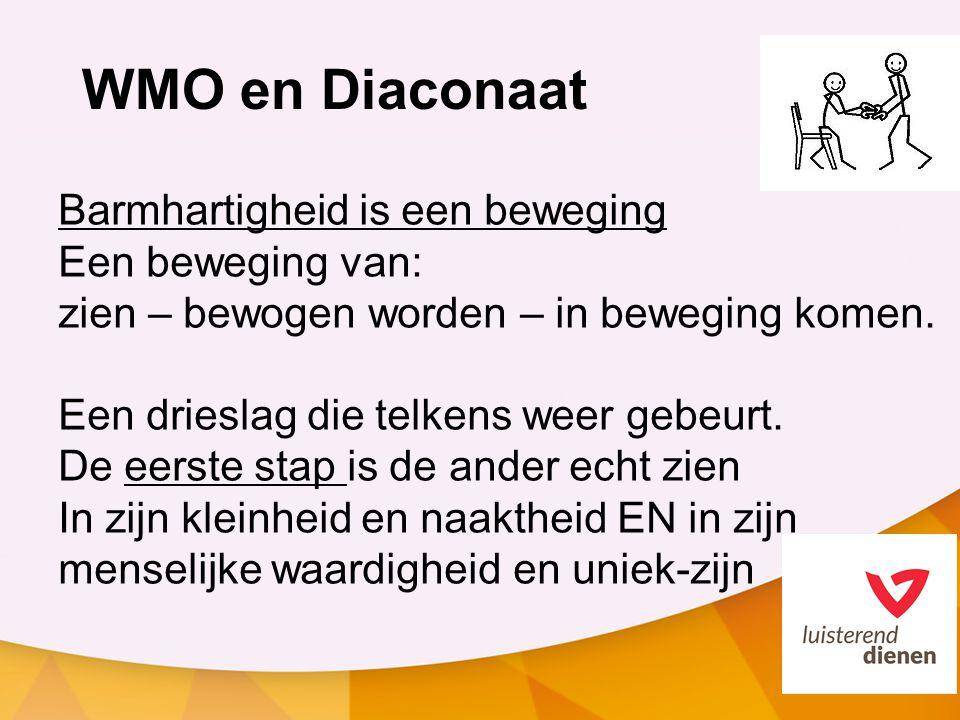 WMO en Diaconaat Barmhartigheid is een beweging Een beweging van: zien – bewogen worden – in beweging komen.