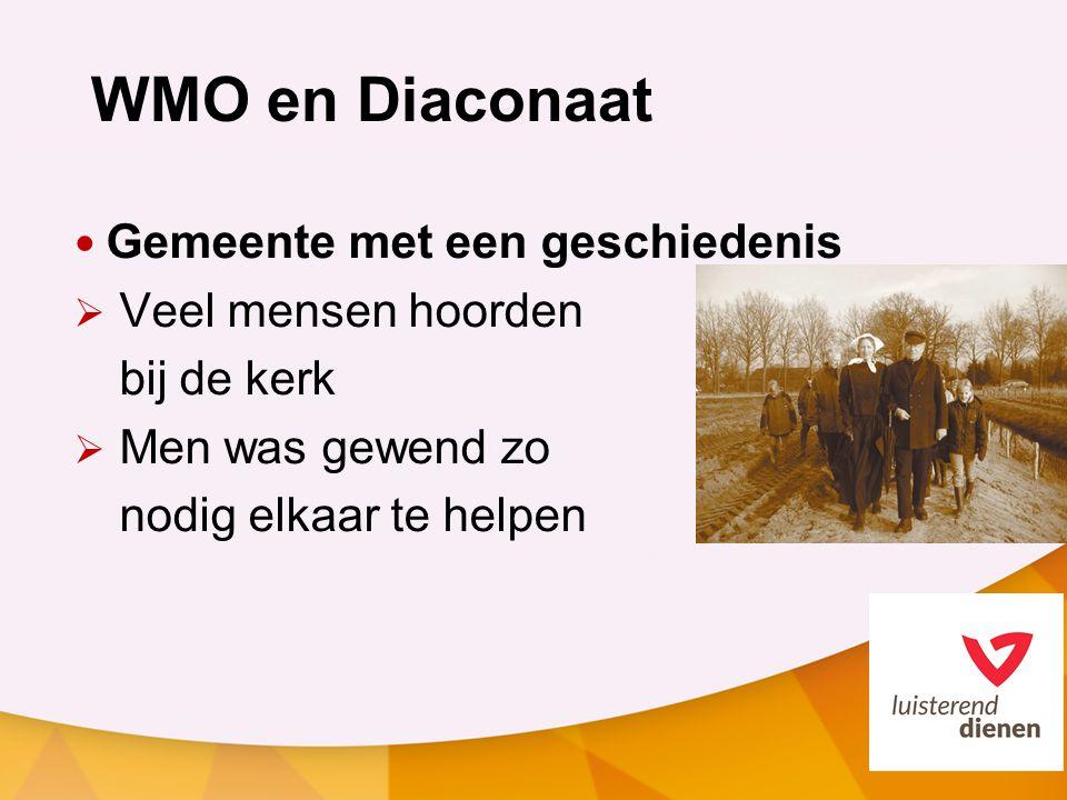 WMO en Diaconaat Gemeente met een geschiedenis  Veel mensen hoorden bij de kerk  Men was gewend zo nodig elkaar te helpen