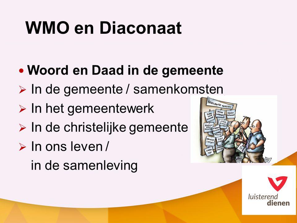 WMO en Diaconaat Woord en Daad in de gemeente  In de gemeente / samenkomsten  In het gemeentewerk  In de christelijke gemeente  In ons leven / in de samenleving