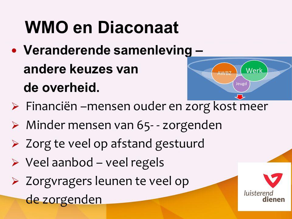 WMO en Diaconaat Veranderende samenleving – andere keuzes van de overheid.