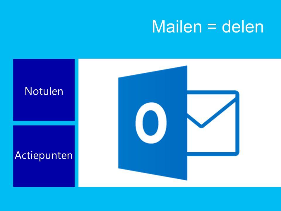 Mailen = delen Notulen Actiepunten