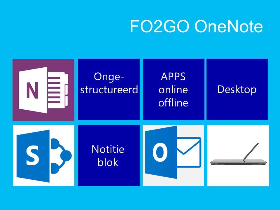 FO2GO OneNote Onge- structureerd Notitie blok APPS online offline Desktop