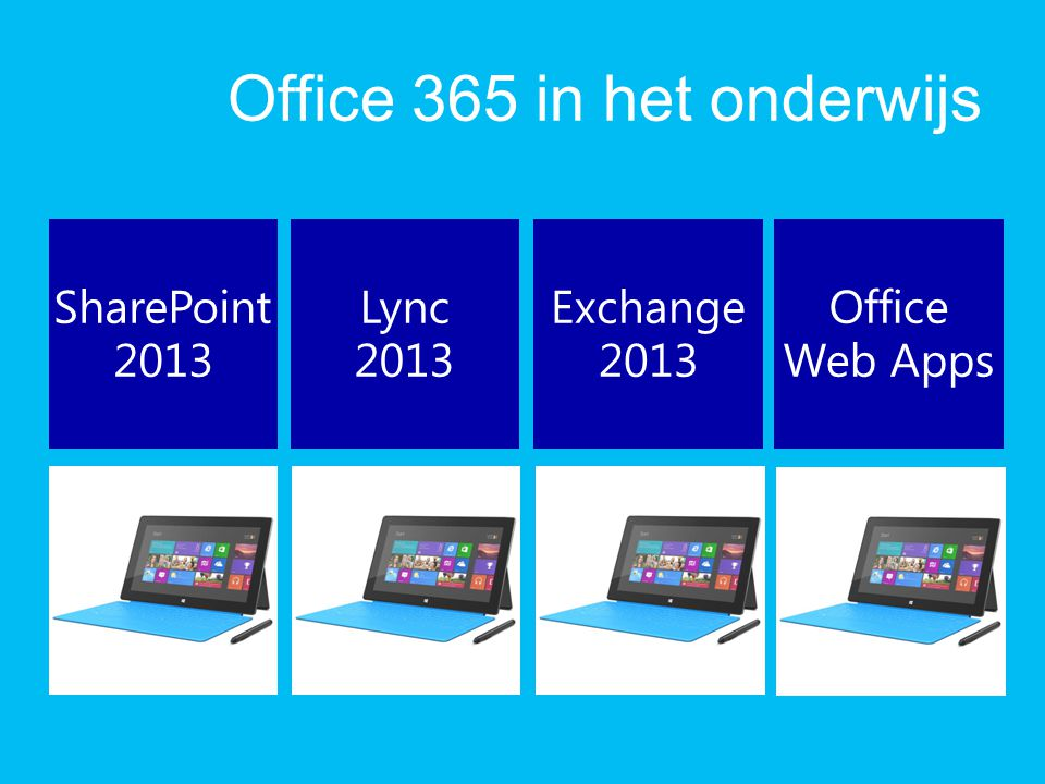 Office 365 in het onderwijs SharePoint 2013 Lync 2013 Exchange 2013 Office Web Apps