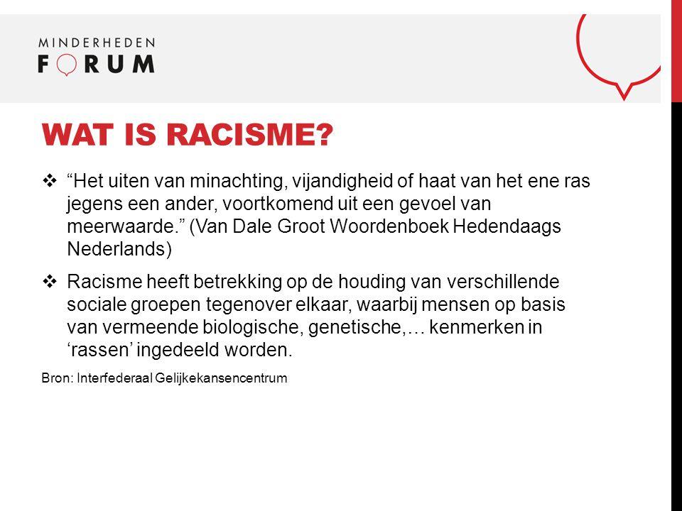 """WAT IS RACISME?  """"Het uiten van minachting, vijandigheid of haat van het ene ras jegens een ander, voortkomend uit een gevoel van meerwaarde."""" (Van D"""