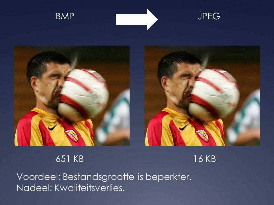BMPJPEG Voordeel: Bestandsgrootte is beperkter. Nadeel: Kwaliteitsverlies. 651 KB16 KB