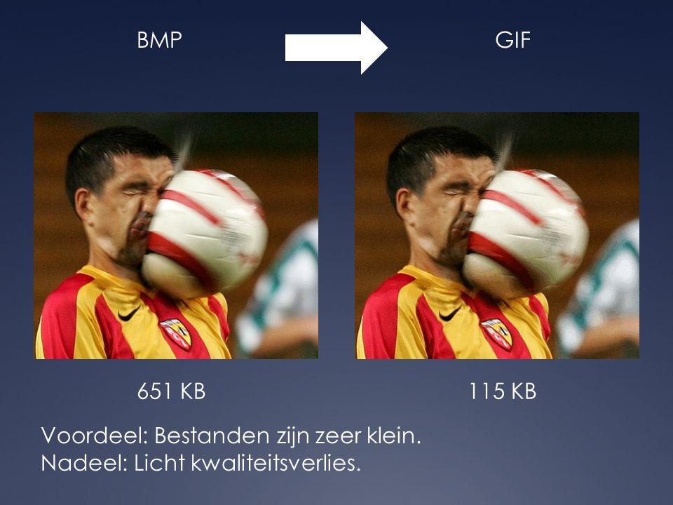 BMPGIF 651 KB115 KB Voordeel: Bestanden zijn zeer klein. Nadeel: Licht kwaliteitsverlies.
