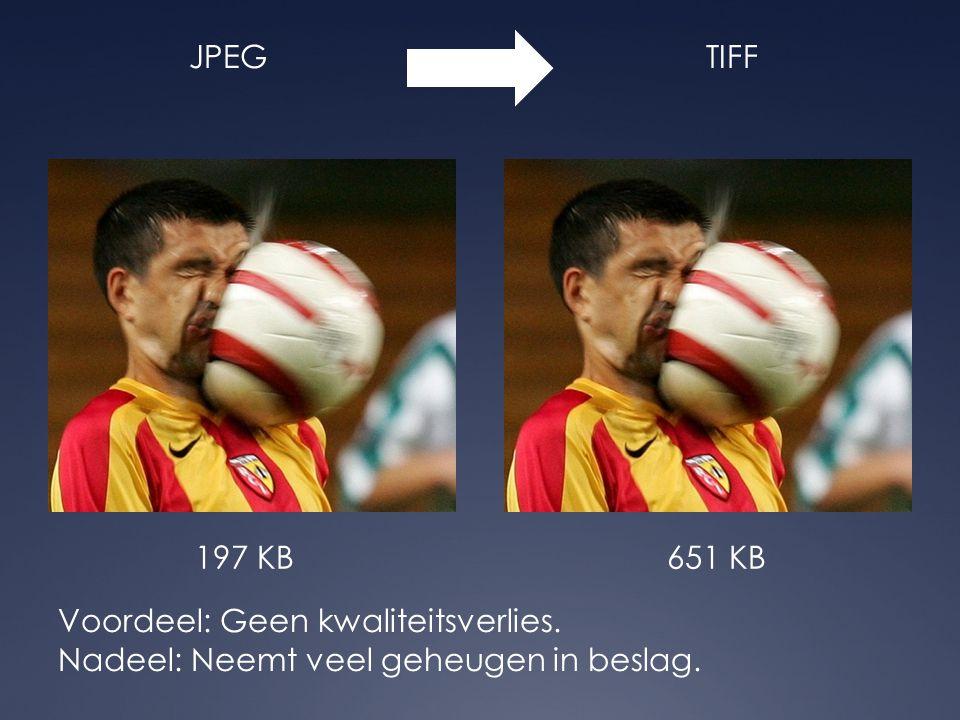JPEGTIFF Voordeel: Geen kwaliteitsverlies. Nadeel: Neemt veel geheugen in beslag. 197 KB651 KB
