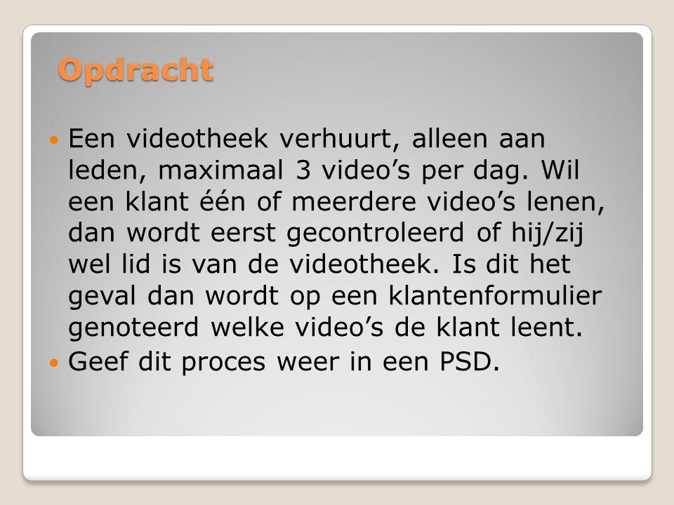 Opdracht Een videotheek verhuurt, alleen aan leden, maximaal 3 video's per dag. Wil een klant één of meerdere video's lenen, dan wordt eerst gecontrol
