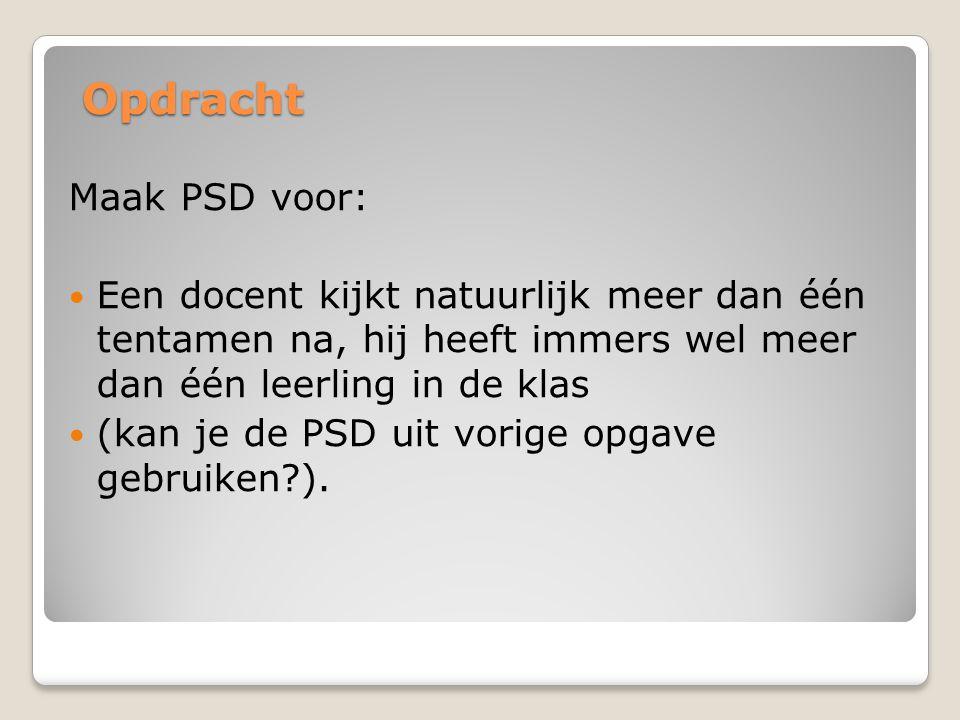 Opdracht Maak PSD voor: Een docent kijkt natuurlijk meer dan één tentamen na, hij heeft immers wel meer dan één leerling in de klas (kan je de PSD uit