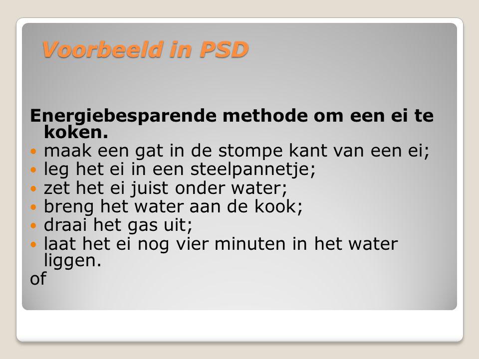 Voorbeeld in PSD Energiebesparende methode om een ei te koken. maak een gat in de stompe kant van een ei; leg het ei in een steelpannetje; zet het ei