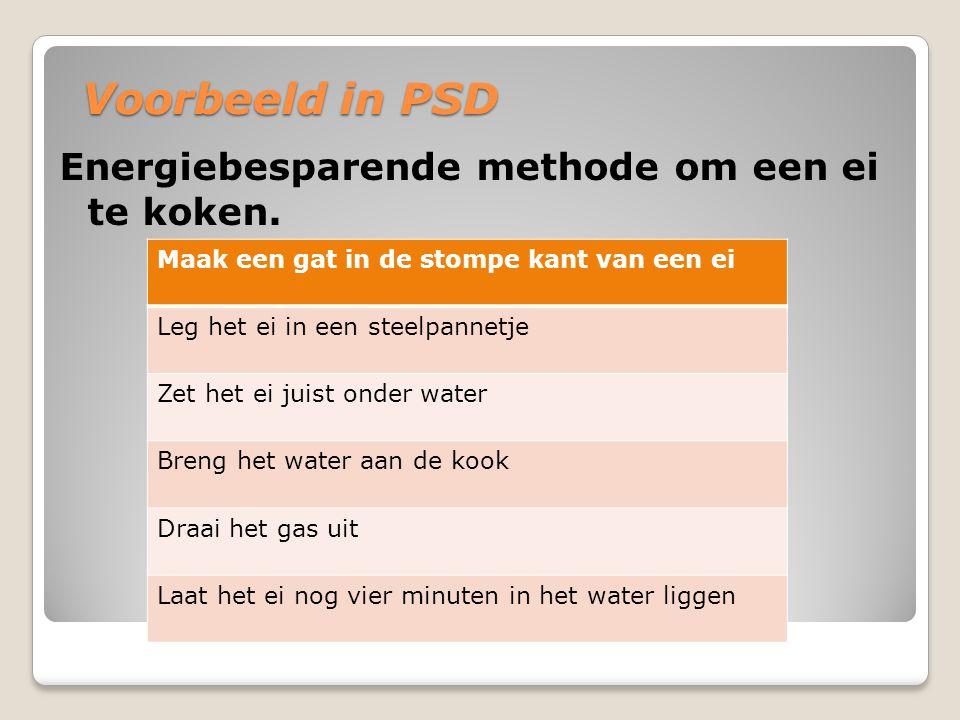 Voorbeeld in PSD Energiebesparende methode om een ei te koken. Maak een gat in de stompe kant van een ei Leg het ei in een steelpannetje Zet het ei ju