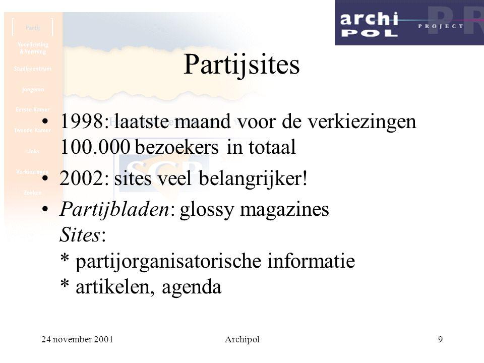 24 november 2001Archipol10 Partijsites speciale verkiezingssites * www.kiespvda.nl persoonlijker: * www.thomdegraaf.nl * www.hansdijkstal.nl * www.admelkert.nl * www.jaapdehoopscheffer.nl … www.janpeterbalkenende.nl!