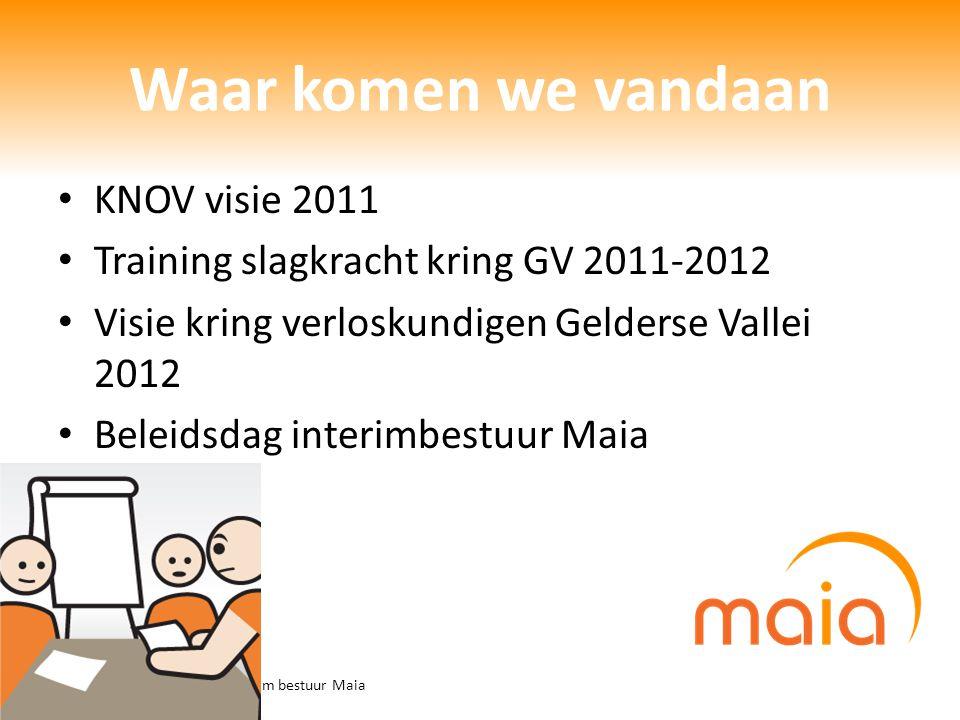 ALV 24-6-2013 / presentatie interim bestuur Maia Waar komen we vandaan KNOV visie 2011 Training slagkracht kring GV 2011-2012 Visie kring verloskundig