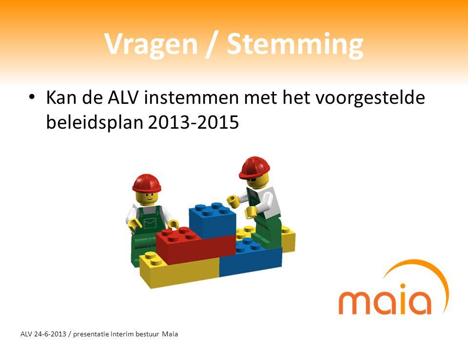 ALV 24-6-2013 / presentatie interim bestuur Maia Vragen / Stemming Kan de ALV instemmen met het voorgestelde beleidsplan 2013-2015