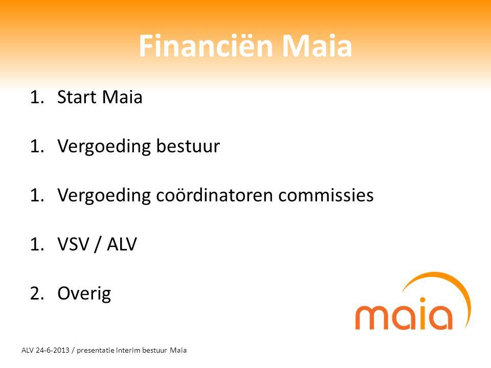 ALV 24-6-2013 / presentatie interim bestuur Maia Financiën Maia 1.Start Maia 1.Vergoeding bestuur 1.Vergoeding coördinatoren commissies 1.VSV / ALV 2.Overig
