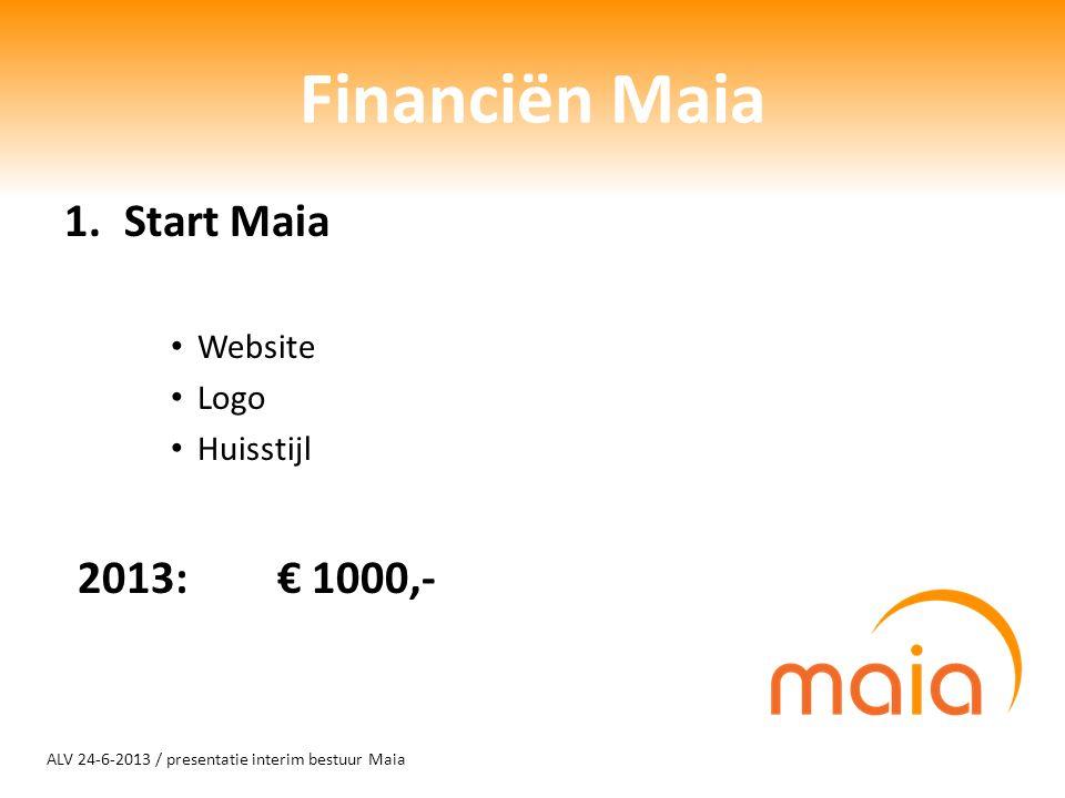 ALV 24-6-2013 / presentatie interim bestuur Maia Financiën Maia 1.Start Maia Website Logo Huisstijl 2013: € 1000,-