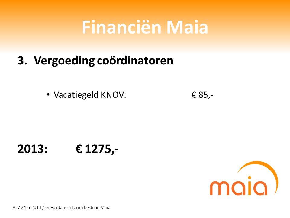 ALV 24-6-2013 / presentatie interim bestuur Maia Financiën Maia 3.Vergoeding coördinatoren Vacatiegeld KNOV:€ 85,- 2013: € 1275,-