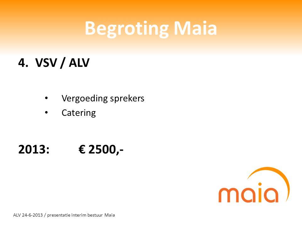 ALV 24-6-2013 / presentatie interim bestuur Maia Begroting Maia 4.VSV / ALV Vergoeding sprekers Catering 2013: € 2500,-