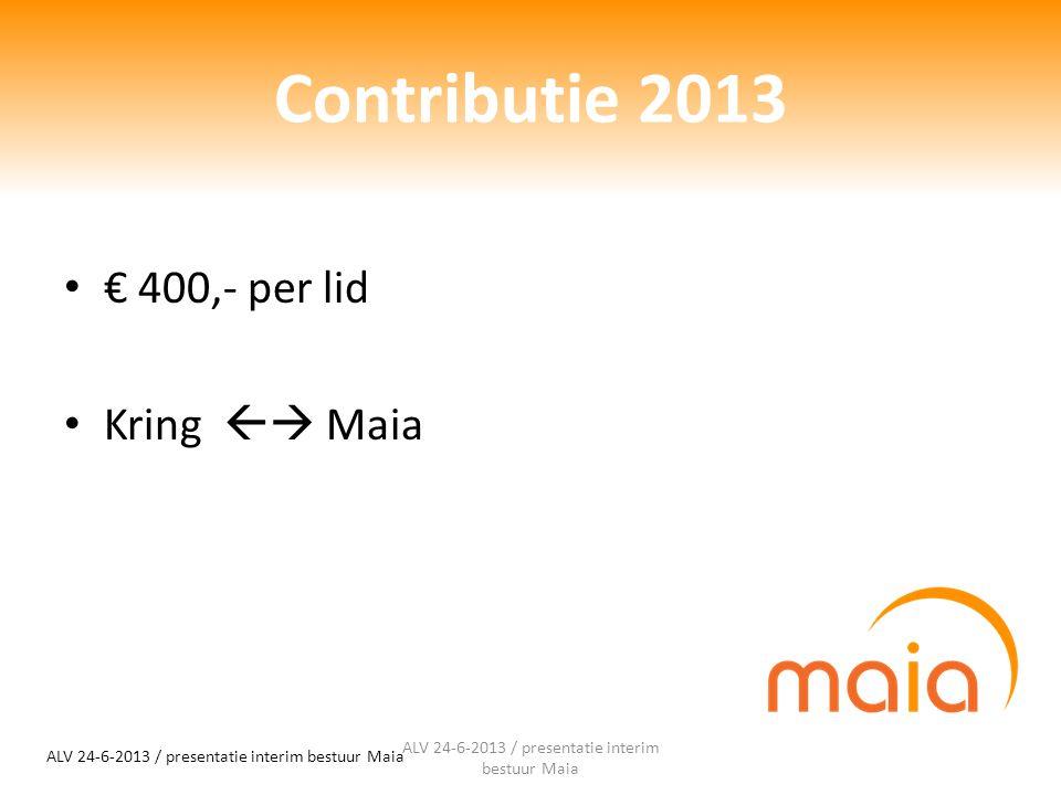 Contributie 2013 € 400,- per lid Kring  Maia ALV 24-6-2013 / presentatie interim bestuur Maia