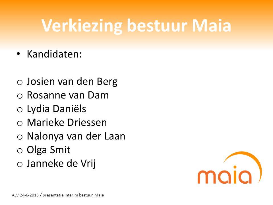 ALV 24-6-2013 / presentatie interim bestuur Maia Verkiezing bestuur Maia Kandidaten: o Josien van den Berg o Rosanne van Dam o Lydia Daniëls o Marieke