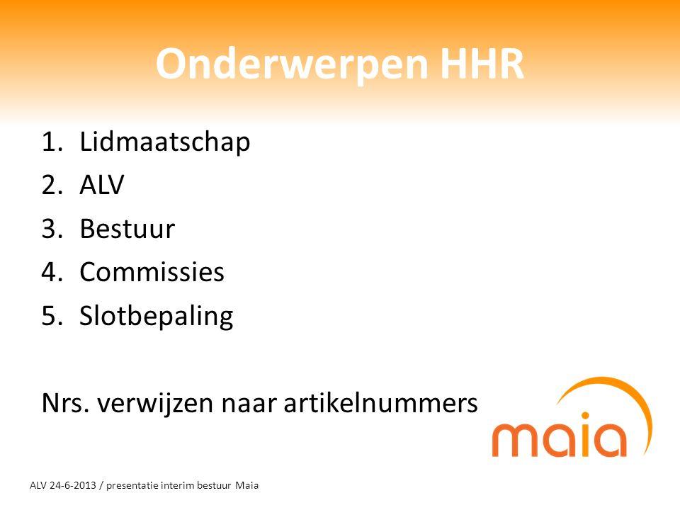 ALV 24-6-2013 / presentatie interim bestuur Maia Onderwerpen HHR 1.Lidmaatschap 2.ALV 3.Bestuur 4.Commissies 5.Slotbepaling Nrs. verwijzen naar artike
