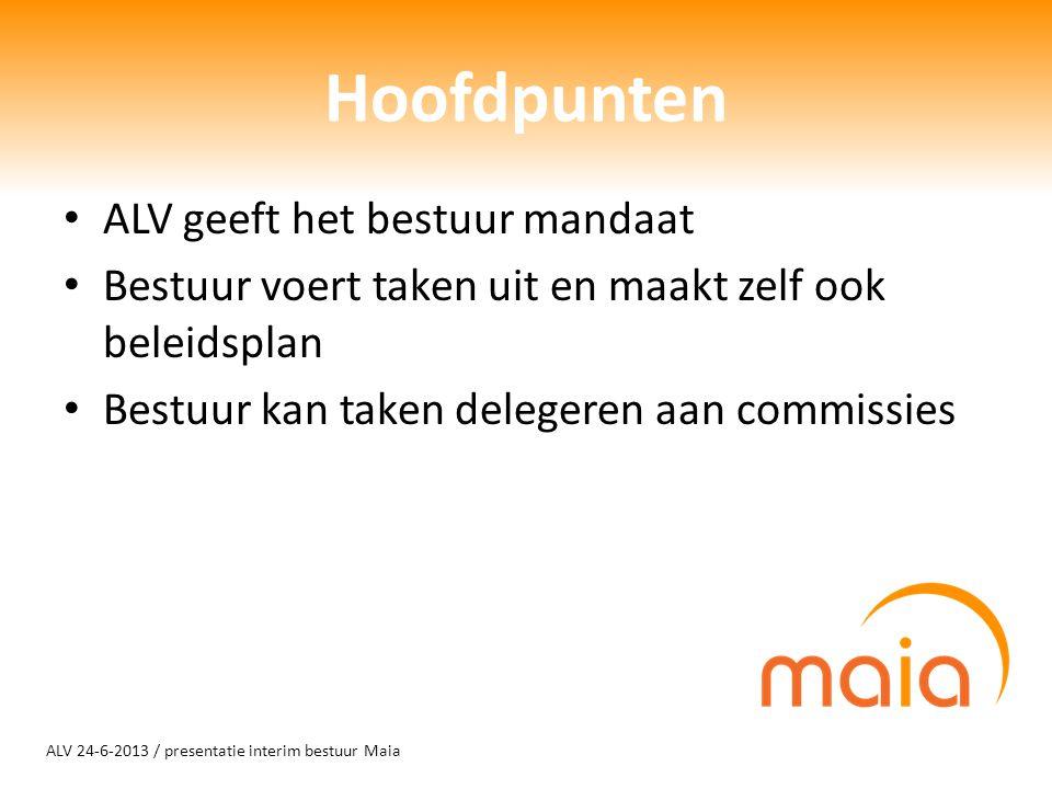 ALV 24-6-2013 / presentatie interim bestuur Maia Hoofdpunten ALV geeft het bestuur mandaat Bestuur voert taken uit en maakt zelf ook beleidsplan Bestuur kan taken delegeren aan commissies