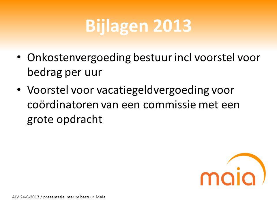 ALV 24-6-2013 / presentatie interim bestuur Maia Bijlagen 2013 Onkostenvergoeding bestuur incl voorstel voor bedrag per uur Voorstel voor vacatiegeldv