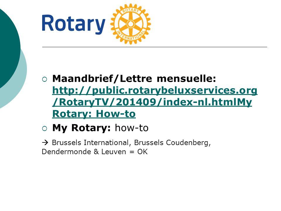  Maandbrief/Lettre mensuelle: http://public.rotarybeluxservices.org /RotaryTV/201409/index-nl.htmlMy Rotary: How-to http://public.rotarybeluxservices.org /RotaryTV/201409/index-nl.htmlMy Rotary: How-to  My Rotary: how-to  Brussels International, Brussels Coudenberg, Dendermonde & Leuven = OK