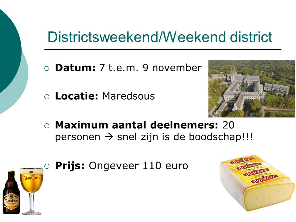 Districtsweekend/Weekend district  Datum: 7 t.e.m.