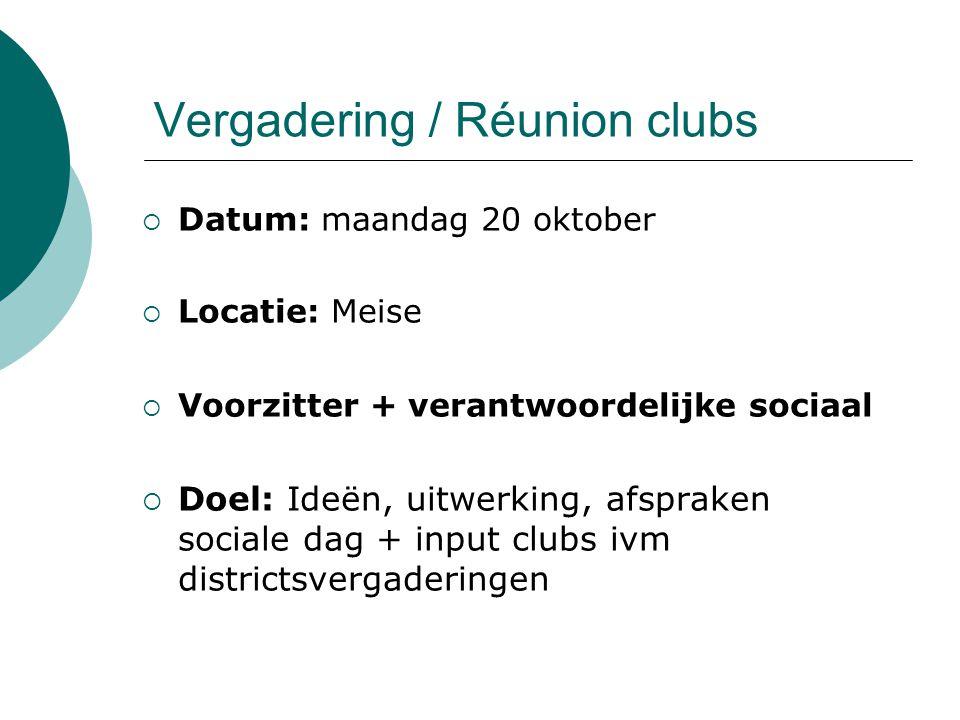 Vergadering / Réunion clubs  Datum: maandag 20 oktober  Locatie: Meise  Voorzitter + verantwoordelijke sociaal  Doel: Ideën, uitwerking, afspraken sociale dag + input clubs ivm districtsvergaderingen