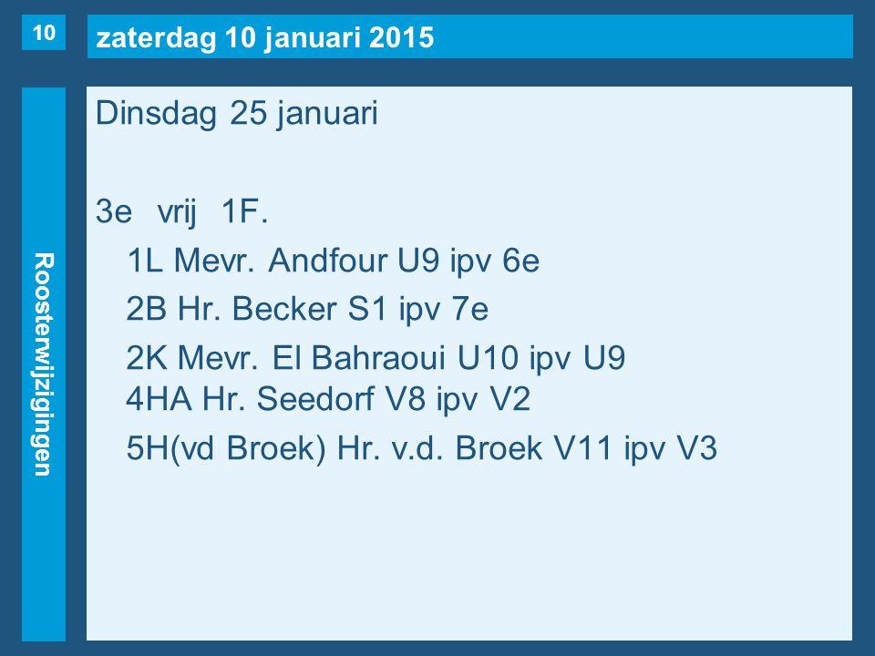 zaterdag 10 januari 2015 Roosterwijzigingen Dinsdag 25 januari 3evrij1F. 1L Mevr. Andfour U9 ipv 6e 2B Hr. Becker S1 ipv 7e 2K Mevr. El Bahraoui U10 i