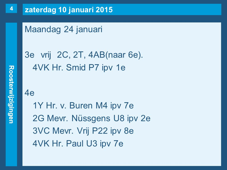 zaterdag 10 januari 2015 Roosterwijzigingen Maandag 24 januari 3evrij2C, 2T, 4AB(naar 6e). 4VK Hr. Smid P7 ipv 1e 4e 1Y Hr. v. Buren M4 ipv 7e 2G Mevr