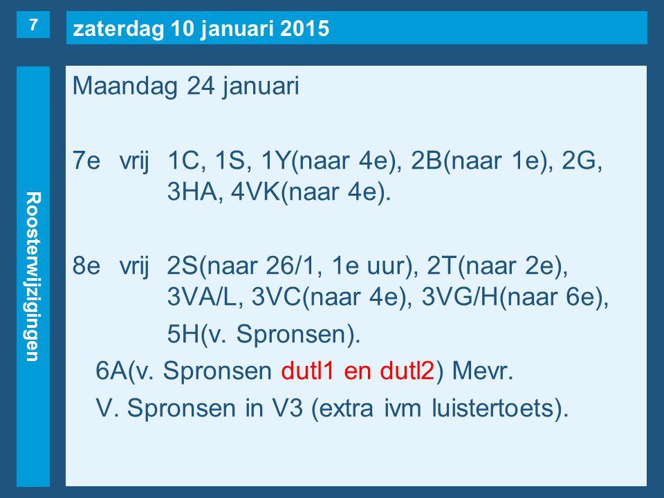 zaterdag 10 januari 2015 Roosterwijzigingen Maandag 24 januari 7evrij1C, 1S, 1Y(naar 4e), 2B(naar 1e), 2G, 3HA, 4VK(naar 4e). 8evrij2S(naar 26/1, 1e u
