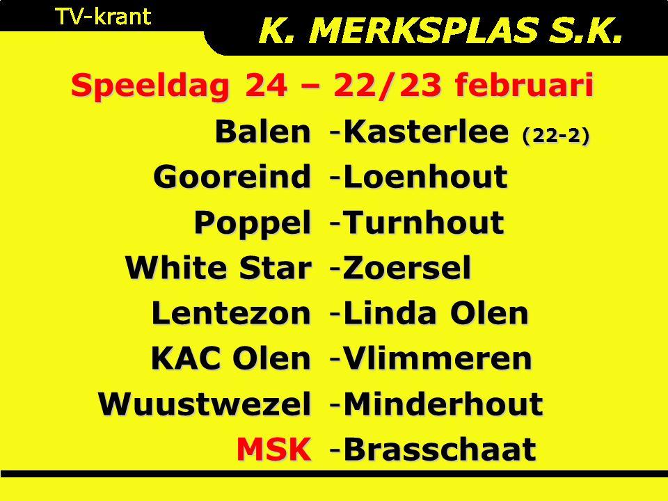 Speeldag 24 – 22/23 februari BalenGooreindPoppel White Star Lentezon KAC Olen WuustwezelMSK -Kasterlee (22-2) -Loenhout -Turnhout -Zoersel -Linda Olen