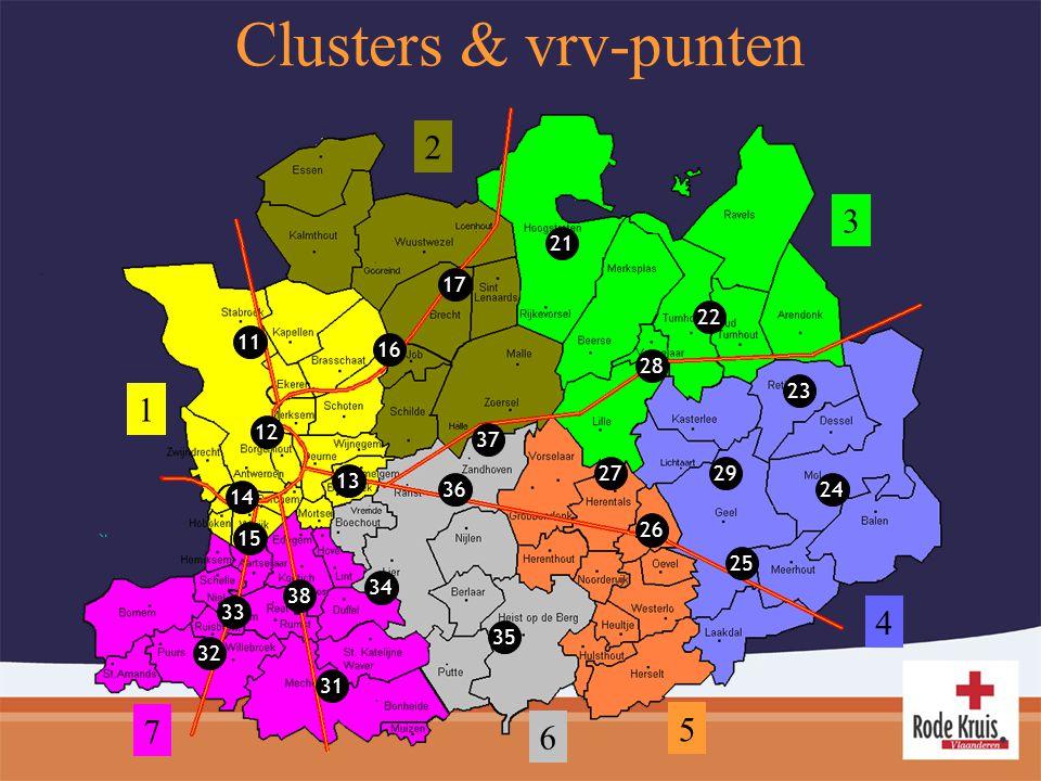 Clusters & vrv-punten 11 12 13 14 15 16 17 21 22 23 24 25 26 27 28 29 31 32 33 34 35 36 37 38 1 2 3 4 5 6 7