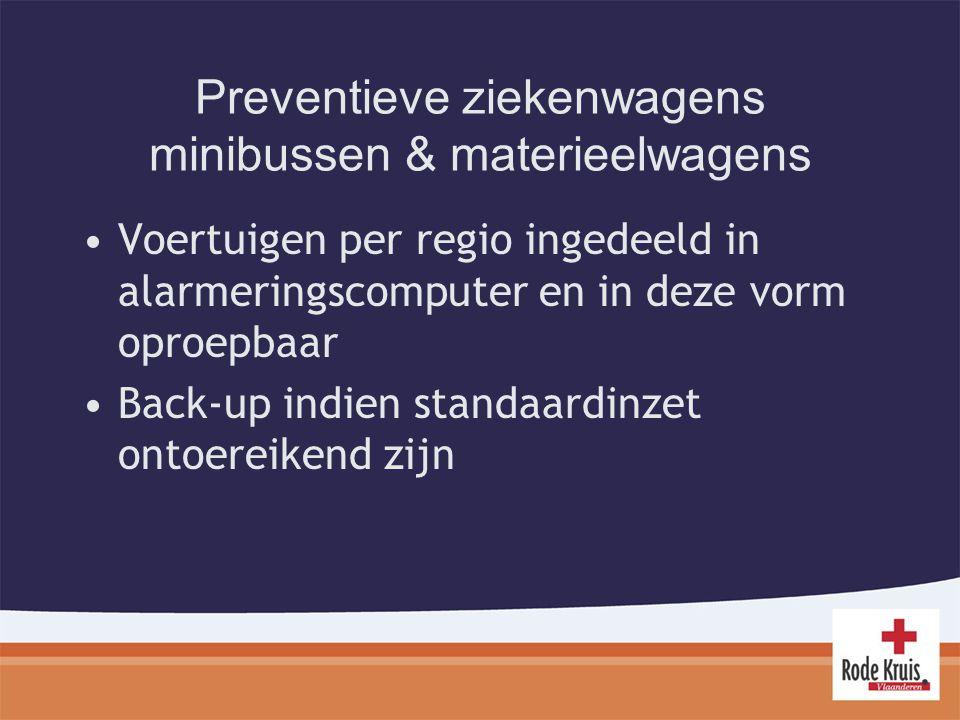 Preventieve ziekenwagens minibussen & materieelwagens Voertuigen per regio ingedeeld in alarmeringscomputer en in deze vorm oproepbaar Back-up indien standaardinzet ontoereikend zijn