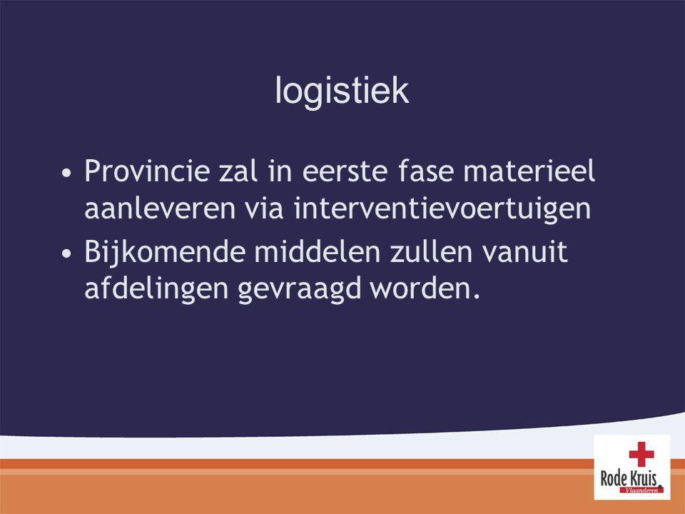 logistiek Provincie zal in eerste fase materieel aanleveren via interventievoertuigen Bijkomende middelen zullen vanuit afdelingen gevraagd worden.