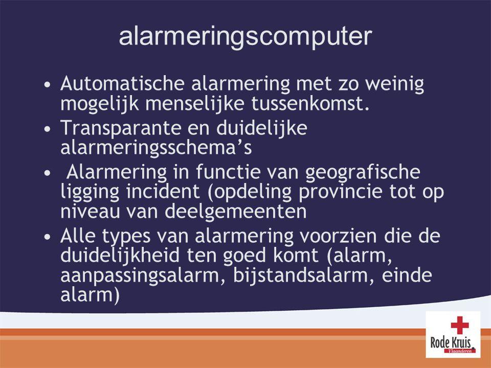 alarmeringscomputer Automatische alarmering met zo weinig mogelijk menselijke tussenkomst.