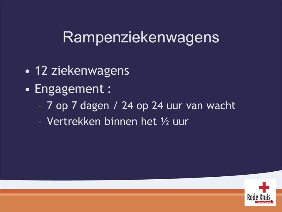 Rampenziekenwagens 12 ziekenwagens Engagement : –7 op 7 dagen / 24 op 24 uur van wacht –Vertrekken binnen het ½ uur