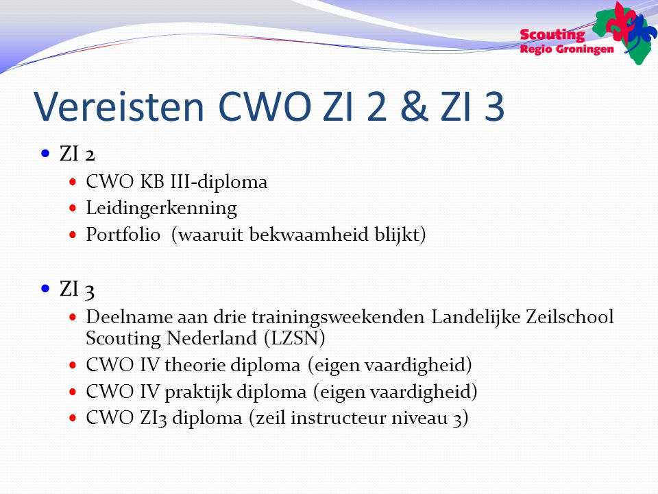 Vereisten CWO ZI 2 & ZI 3 ZI 2 CWO KB III-diploma Leidingerkenning Portfolio (waaruit bekwaamheid blijkt) ZI 3 Deelname aan drie trainingsweekenden Landelijke Zeilschool Scouting Nederland (LZSN) CWO IV theorie diploma (eigen vaardigheid) CWO IV praktijk diploma (eigen vaardigheid) CWO ZI3 diploma (zeil instructeur niveau 3)