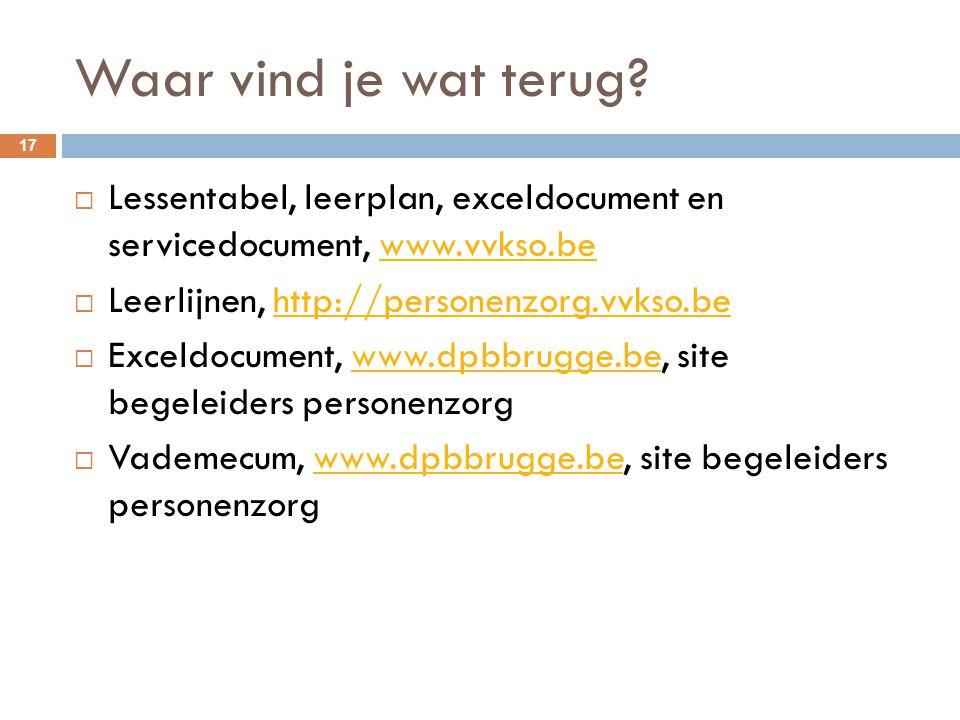 Waar vind je wat terug? 17  Lessentabel, leerplan, exceldocument en servicedocument, www.vvkso.bewww.vvkso.be  Leerlijnen, http://personenzorg.vvkso